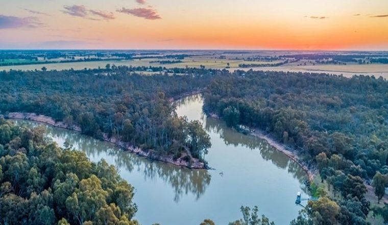 Aerial image of Murray River NSW over sunset