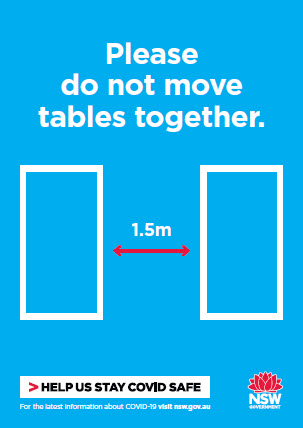 COVID-19 poster: Please do not move tables together.