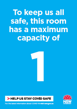 COVID-19 poster (blue version): To keep us all safe, this room has a maximum capacity of 1
