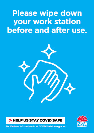 COVID-19 poster: Please wipe down your workstation before and after use