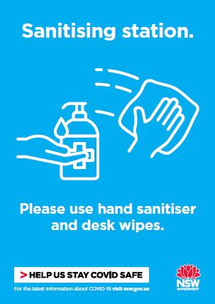 COVID-19 poster: Sanitising station. Please use hand sanitiser and desk wipes.
