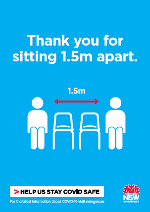 COVID-19 poster: Thank you for sitting 1.5 metres apart.