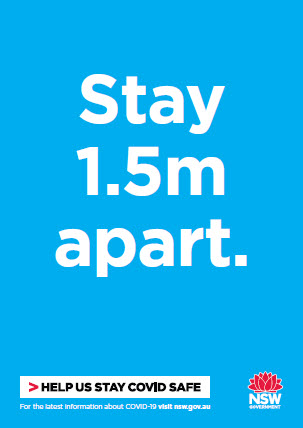 COVID-19 poster: Stay 1.5 metres apart.