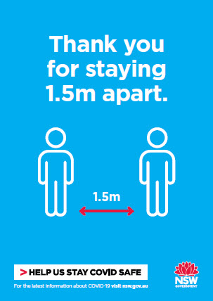 COVID-19 poster: Please always stay 1.5 metres apart.