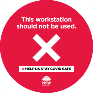COVID-19 poster: This workstation should not be used.
