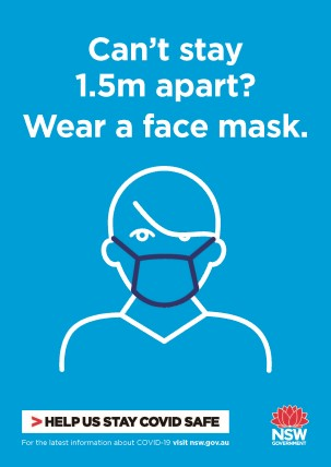 COVID-19 poster thumbnail: wear a mask (blue).
