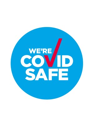 COVID Poster: We have a COVID-19 Safety Plan and are committed to keeping you safe - record keeping