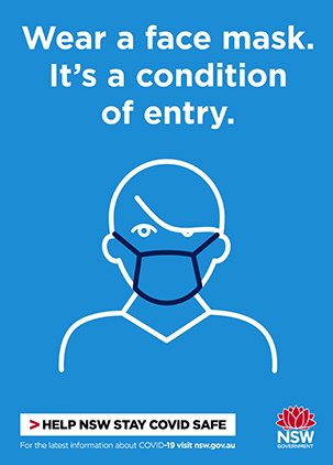 COVID-19 poster thumbnail: wear a mask (blue).
