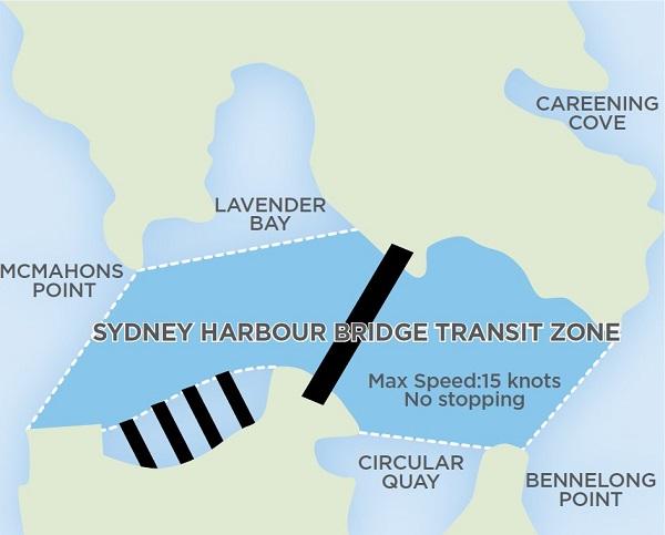 Map of the Sydney Harbour Bridge transit zone