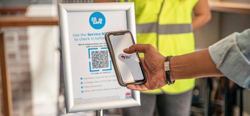 Check in to COVID Safe businesses who are using their NSW Government QR Code, using the Service NSW app
