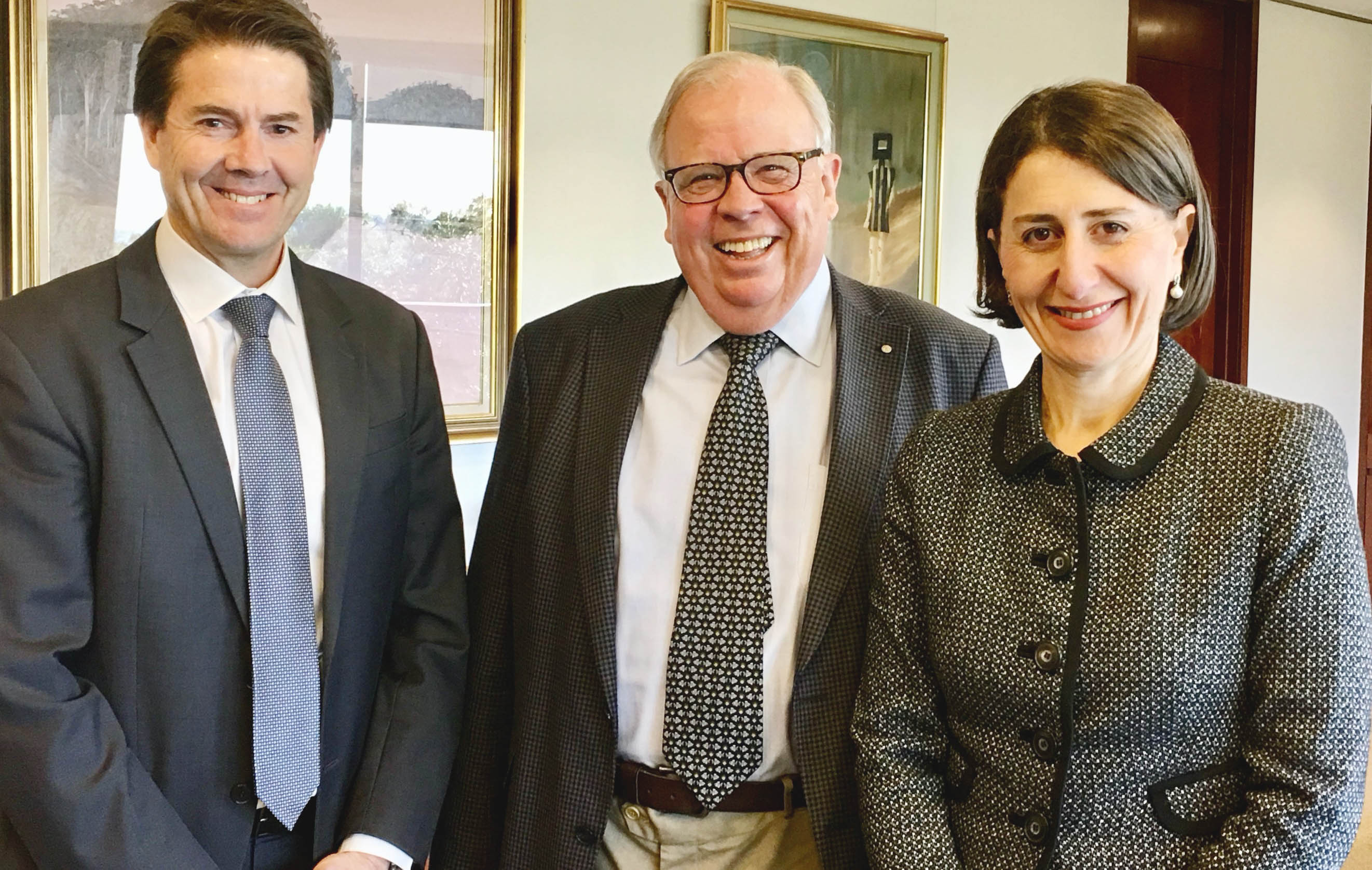 Right to left: Minister Anderson, Building Commissioner David Chandler, Premier Gladys Berejiklian