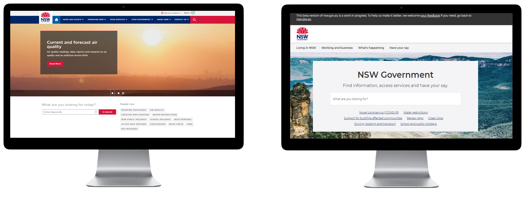 Two monitors side by side displaying the old and new nsw.gov.au website.