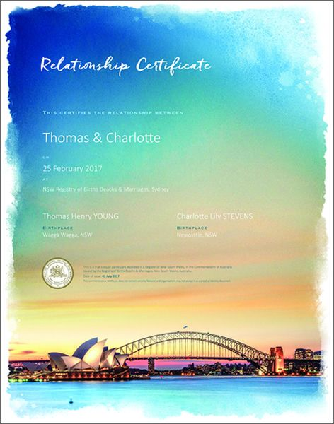 Relationship certificate featuring Sydney Harbour