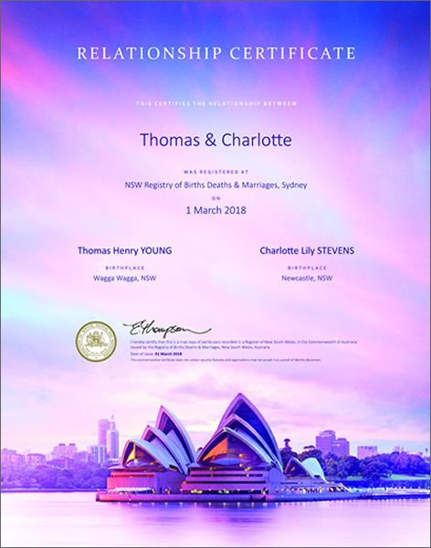 Relationship certificate featuring the Sydney Opera House