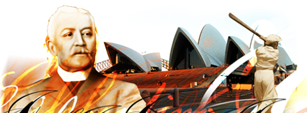 Historial figures with an image of the Sydney Opera House behind them