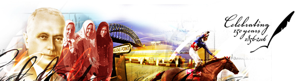 Abstract image of different people with Milson Point and the Sydney Harbour Bridge in the background