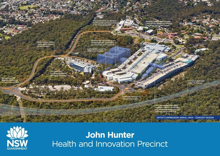 John Hunter Hospital concept design showing aerial view, zoomed in