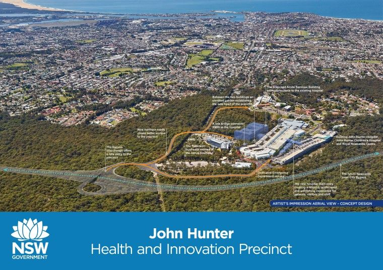 John Hunter Hospital concept design showing aerial view