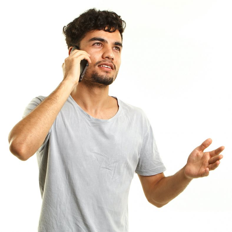 Person making phone call