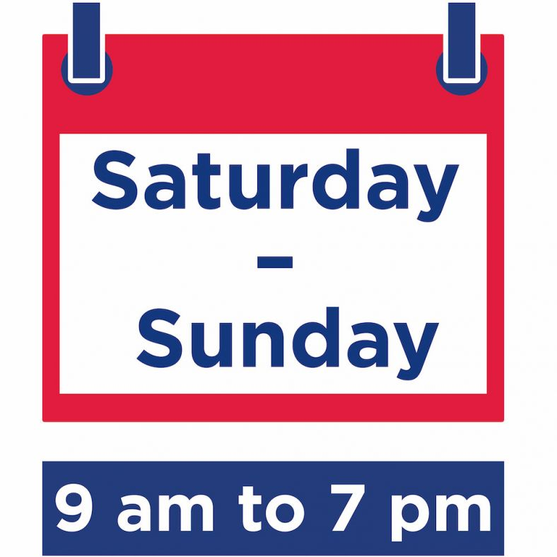 Icon showing Saturday to Sunday 9am to 7pm
