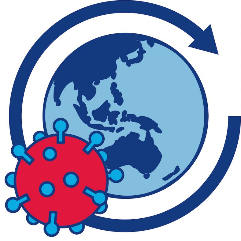 World globe with coronavirus icon