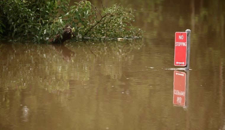 A close up of a no stopping sign in a flood, Lismore NSW
