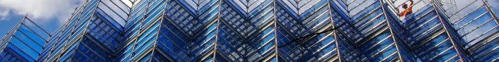 A high scaffold with blue sky in background
